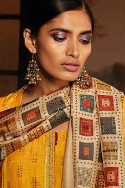 Ready to Wear Mustard Silk Palazzo Suit with Hand Embroidery