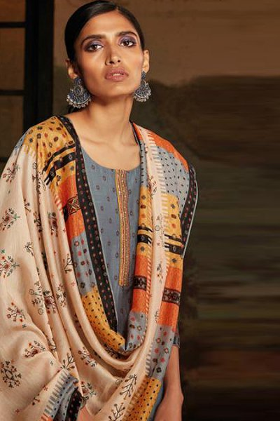 Ready to Wear Silver Grey Silk Palazzo Suit with Hand Embroidery