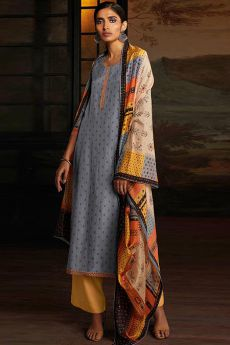 Silver Grey Silk Palazzo Suit with Hand Embroidery