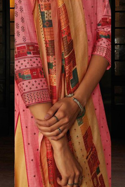 Ready to Wear Pink Silk Palazzo Suit with Hand Embroidery