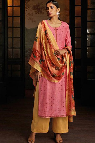Pink Silk Palazzo Suit with Hand Embroidery