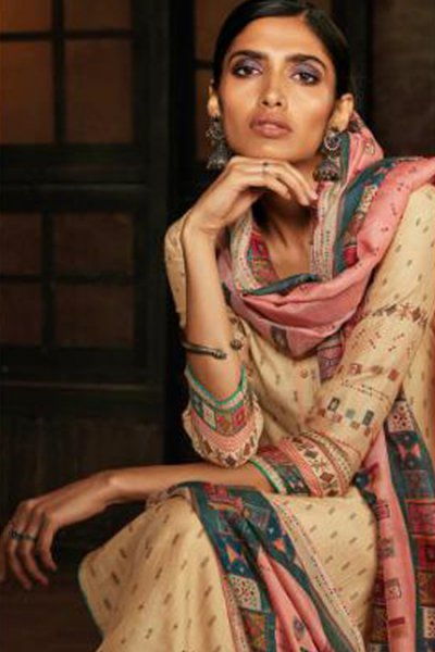 Ready to Wear Beige Silk Palazzo Suit with Hand Embroidery