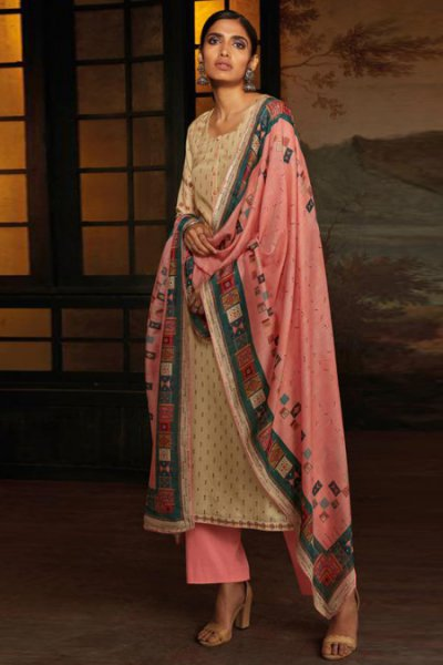Beige Silk Palazzo Set with Hand Embroidery