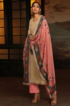 Beige Silk Palazzo Suit with Hand Embroidery