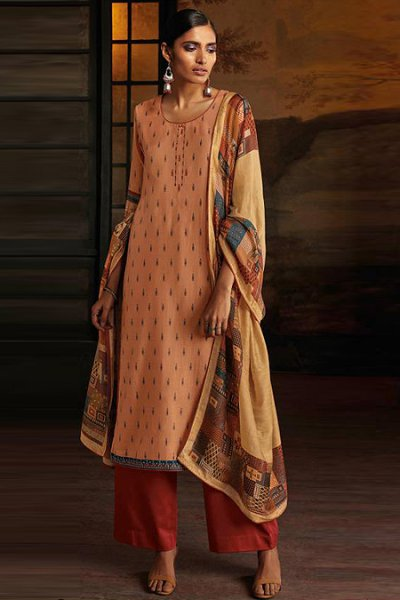 Ready to Wear Dark Peach Silk Palazzo Suit with Hand Embroidery