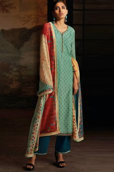 Turquoise Green Silk Palazzo Suit with Hand Embroidery