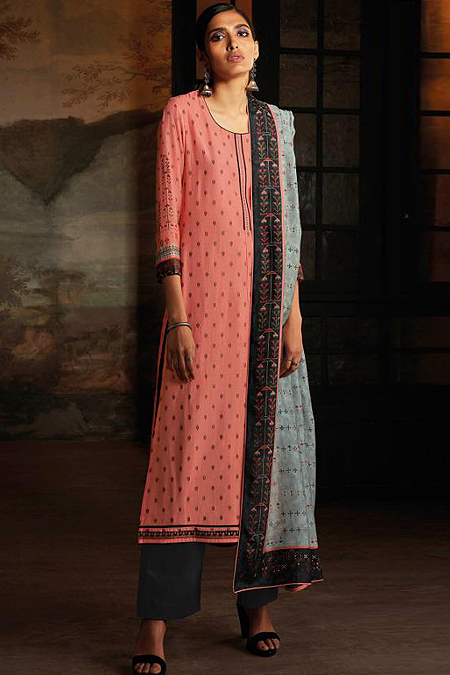Ready to Wear Coral Pink Silk Palazzo Suit with Hand Embroidery