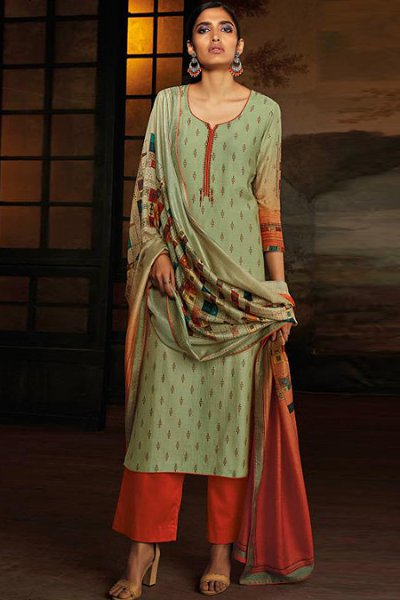 Ready to Wear Pistachio Green Silk Palazzo Suit with Hand Embroidery