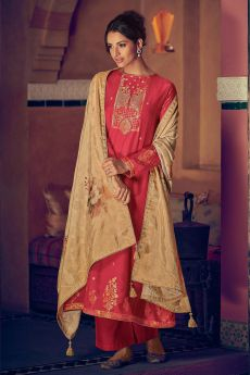 Dark Coral Party Wear Palazzo Suit in Pure Banarasi Silk Weave