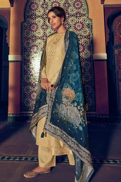 Beige Pure Silk Salwar Suit in Banarasi Weave