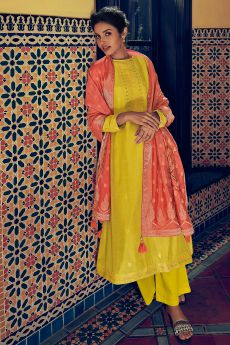 Bright Yellow Party Wear Palazzo Suit in Pure Banarasi Silk Weave