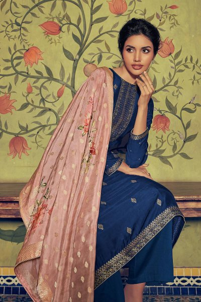 Ready to Wear Royal Blue Palazzo Suit in Silk