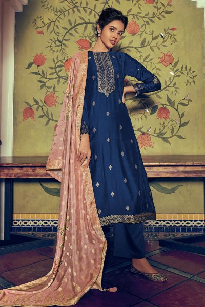 Royal Blue Party Wear Palazzo Suit in Pure Banarasi Silk Weave