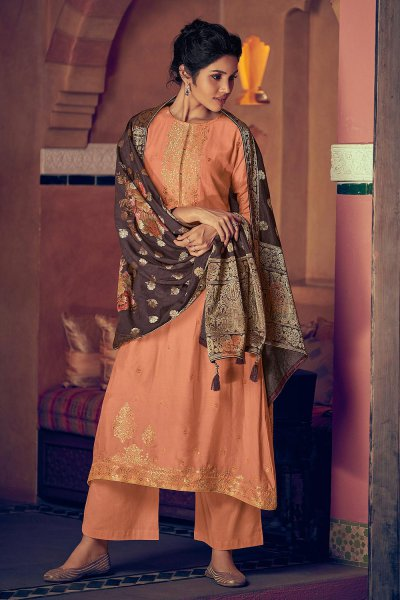 Peach Party Wear Palazzo Suit in Pure Banarasi Silk Weave