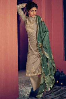 Taupe Party Wear Palazzo Suit in Pure Banarasi Silk Weave