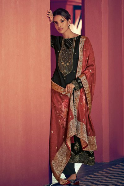 Black Party Wear Palazzo Suit in Pure Banarasi Silk Weave