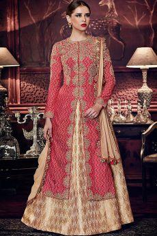 Red Tussar Silk Wedding Lehenga Set