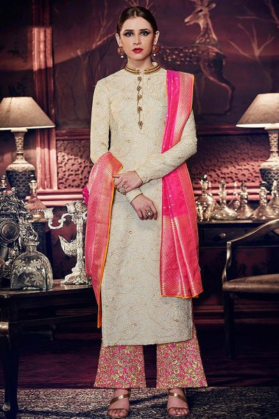 Tussar Silk Embroidered Wedding Salwar Kameez