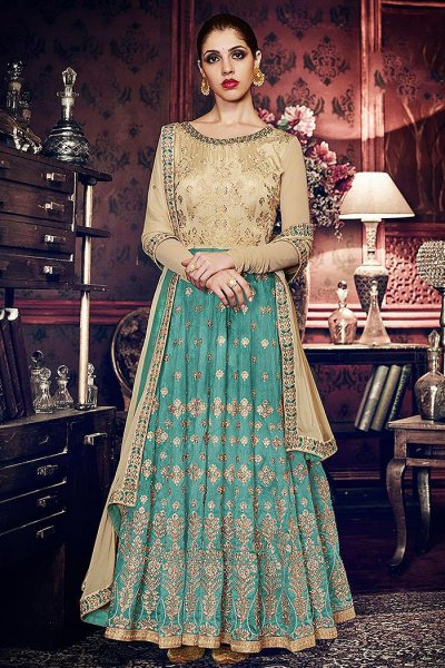 Turquoise Embroidered Silk Anarkali Suit