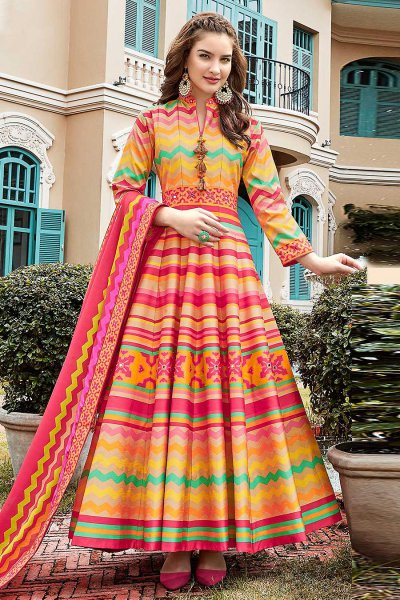 Multicolored Chevron Print Indian Anarkali Dress in Silk