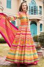 Multicolored Chevron Print Indian Anarkali Dress in Silk