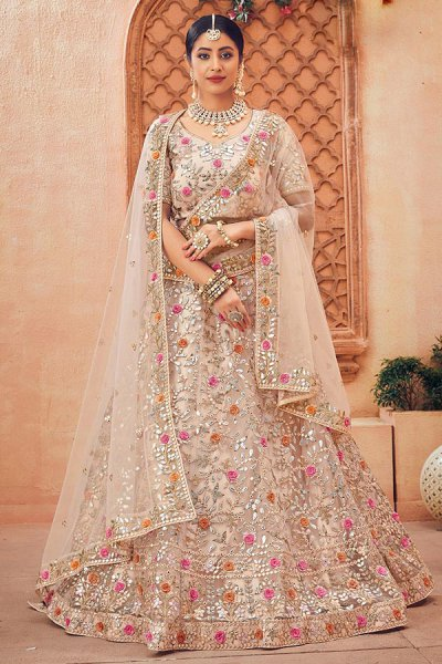 Hand Embroidered Silk Wedding/Party Lehenga Choli