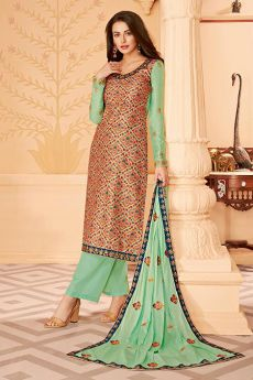 Pista Green Embroidered Palazzo Suit in Silk