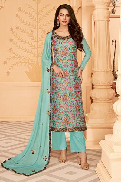 Light Blue Embroidered Palazzo Suit in Silk