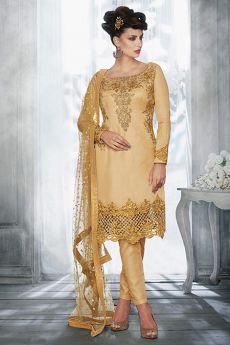 Beige Golden Silk Salwar Kameez with Heavy Embroidery