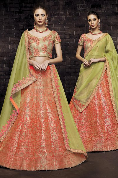 Orange Silk Brocade Indian Lehenga