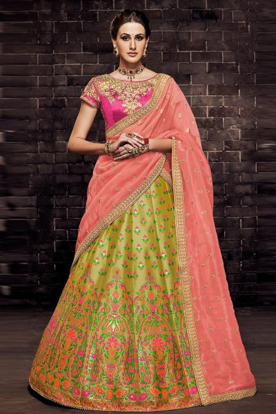 Lemon Green Silk Brocade Indian Lehenga