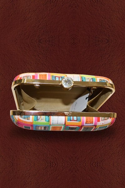 Multicolored Quirky Printed Clutch