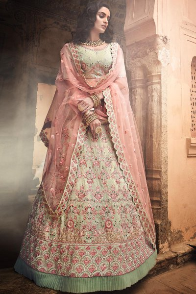 Pista Green Indian Designer Lehenga