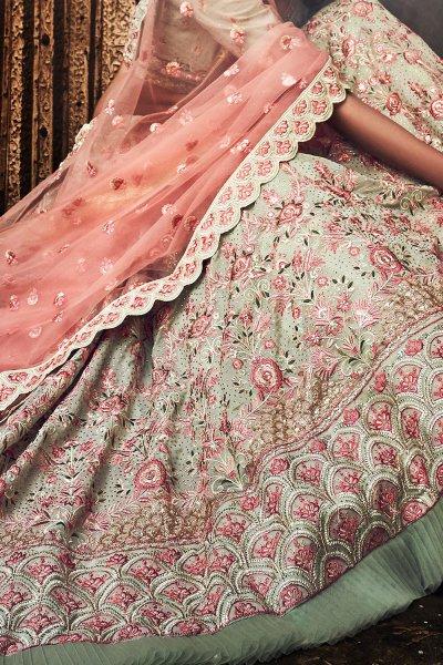 Pista Green Indian Designer Lehenga