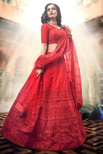Beautiful Red Party Wear Lehenga