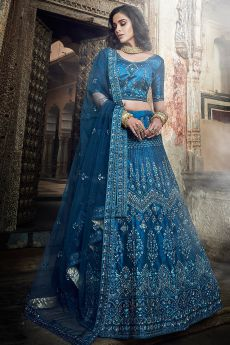 Blue Party Wear Silk Lehenga