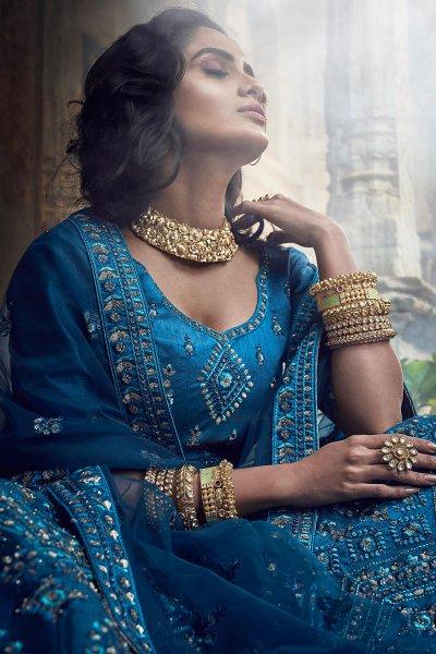 Blue Party Wear Silk Lehenga
