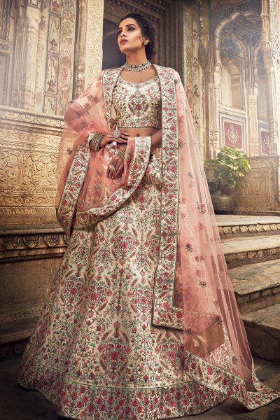 Off White Party Wear Silk Lehenga