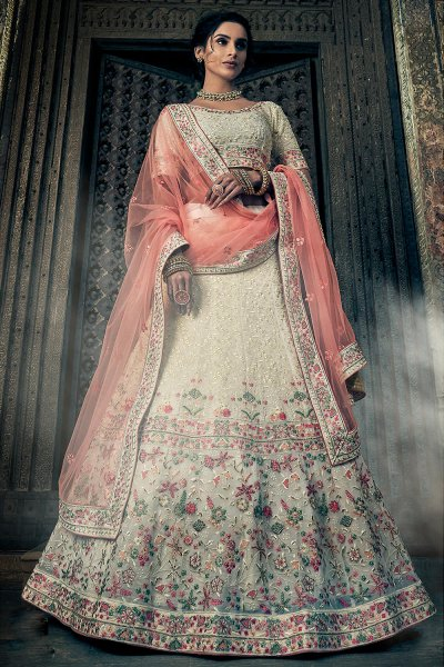 Off White Party Wear Georgette Lehenga