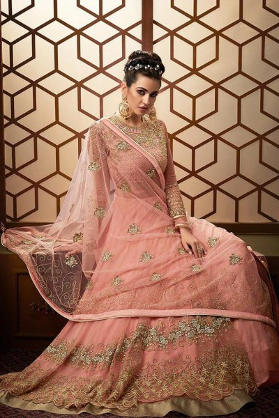 Blush Pink Designer Anarkali Suit with Heavy Embroidery