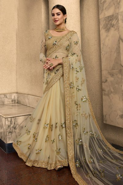 Beige Net Saree with Sequin Work