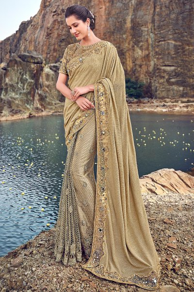 Designer Beige Embroidered Party Wear Saree