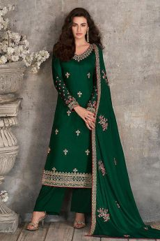 Bottle Green Indian Suit in Silk with Beautiful Embroidery