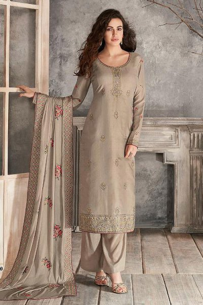 Taupe Indian Suit in Silk with Beautiful Embroidery