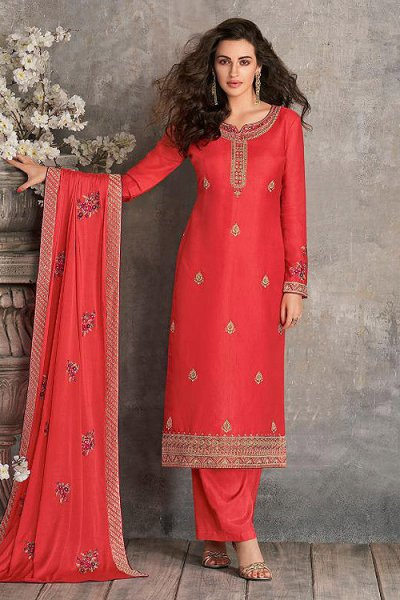 Coral Indian Suit in Silk with Beautiful Embroidery