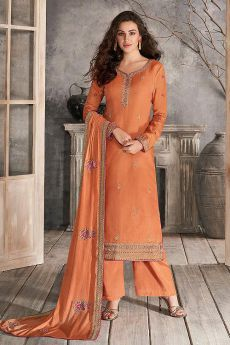 Orange Indian Suit in Silk with Beautiful Embroidery