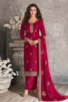 Wine Indian Suit in Silk with Beautiful Embroidery