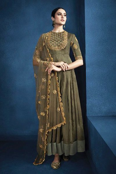 Satin Georgette Indian Suit with Embroidery Work