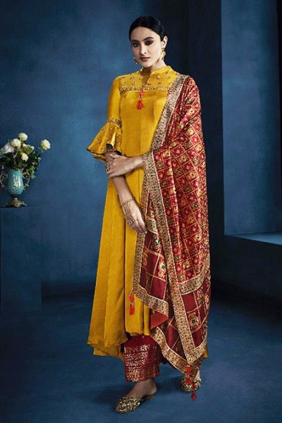 Mustard Anarkali Suit in Satin Georgette
