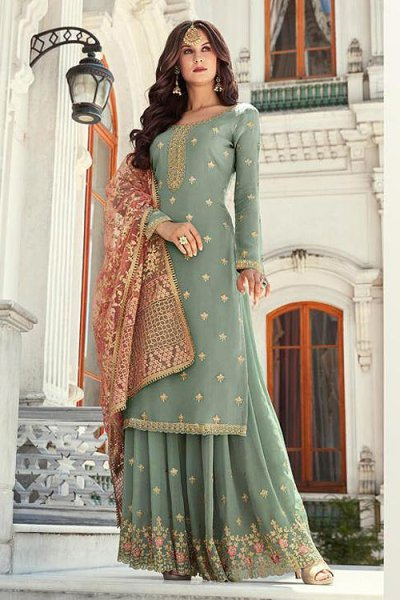 Indian Designer Georgette Palazzo Suit with Beautiful Zari Embroidery